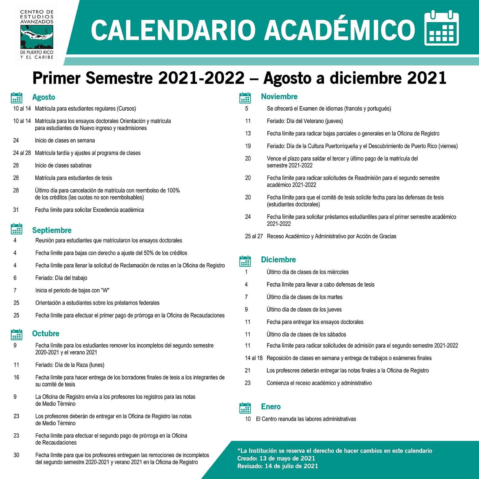 Calendario Académico Agosto - Diciembre 2021